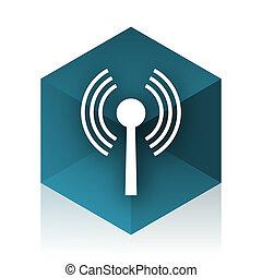 blu, web, cubo, wifi, moderno, elemento, disegno, icona
