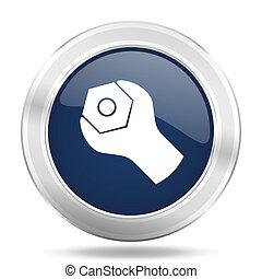 blu, web, mobile, app, illustrazione, metallico, scuro, icona internet, bottone, attrezzi, rotondo