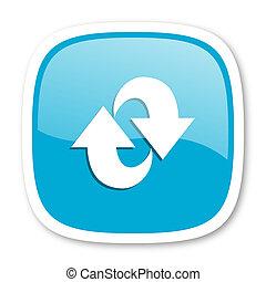 blu, web, rotazione, lucido, icona