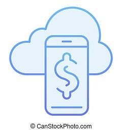 blu, web, stile, smartphone, 10., icone, pendenza, dollaro, eps, appartamento, style., telefono, sincronizzazione, disegnato, trendy, icon., disegno, nuvola, app.
