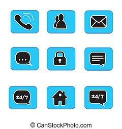 blu, web, vita, set, persone, simbolo, icone, collezione, contatto, libro telefono, nero, lucchetto, chiacchierata, posta, casa, bottone bianco, indirizzo