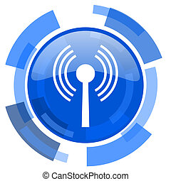 blu, web, wifi, moderno, lucido, cerchio, icona