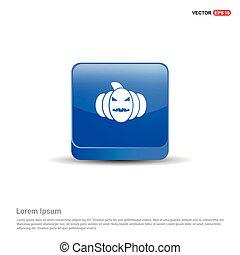 blu, zucca, bottone, -, icona, 3d