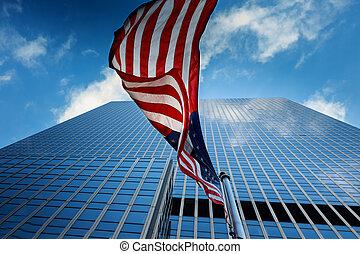 blue épület, american lobogó, háttér, kilátás