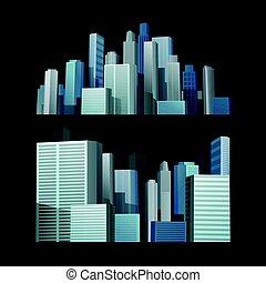 blue épület, város, black háttér, elülső