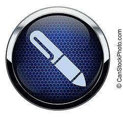 blue írás, icon., átlyuggatott díszítés