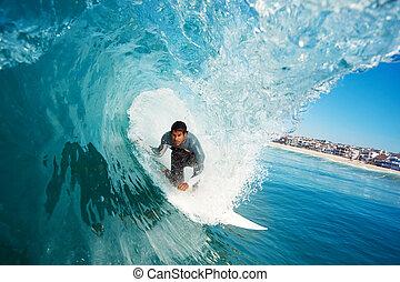 blue óceán, hullámlovas, lenget
