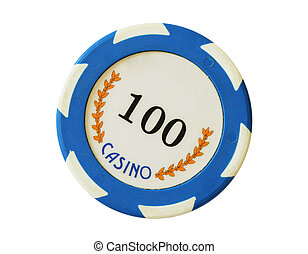 Blue 100 dollars casino chip isolated over white background