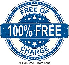 blue 100% free of charge rubber stamp internet sign on white background