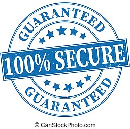 blue 100% secure guaranteed grungy round rubber stamp illustration