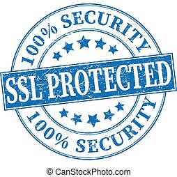 blue 100% security ssl protected grungy round rubber stamp illustration