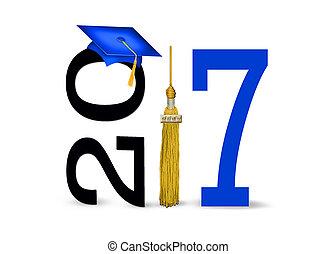 blue 2017 graduation cap and tassel