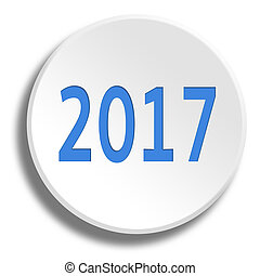 Blue 2017 in round white button with shadow