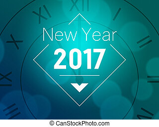 Blue 2017 New Year Card