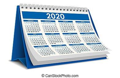 Blue 2020 calendar 3d