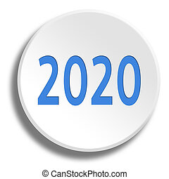 Blue 2020 in round white button with shadow