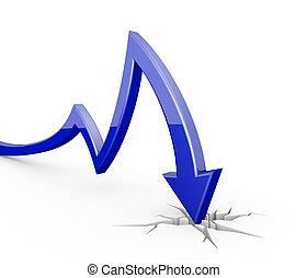 Blue 3d arrow graph moves down