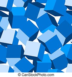 Blue 3D blocks in a seamless pattern