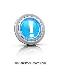 blue 3d  button exclamation mark