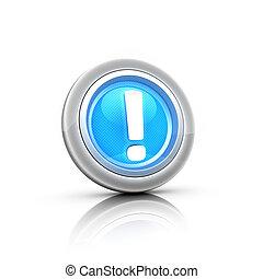 blue 3d button exclamation mark