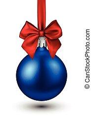 Blue 3d Christmas ball on white.
