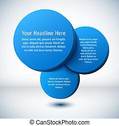 Blue 3D circle background.
