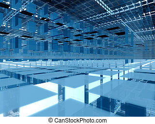 Blue 3d clusters architecture - Abstract hi-tech transparent...
