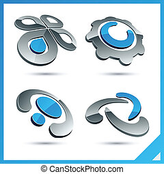 Blue 3d company signs. - Set of vector business blue 3d ...