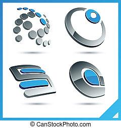 Blue 3d company signs.