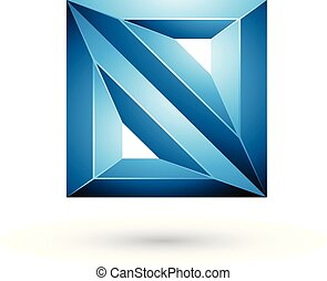 Blue 3d Geometrical Embossed Triangles and Square Shape Vector Illustration