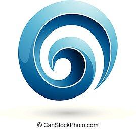 Blue 3d Glossy Swirl Shape Vector Illustration