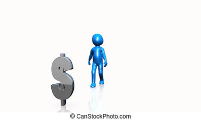 Blue 3D man showing the dollar sign
