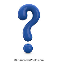 blue 3d question mark isolated on white background