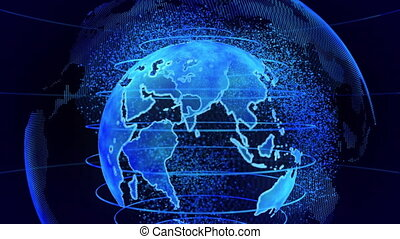 Blue 3D rendering of earth technology, business and communications background