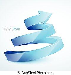 blue 3d sprial arrow - vector blue 3d sprial arrow...