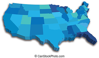 Blue 3D USA State map - An US State map in Blue 3D tones