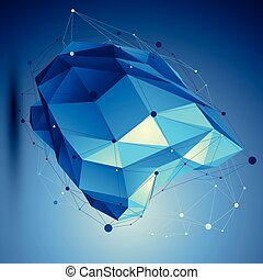 Blue 3D vector abstract technology illustration, perspective geo