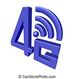 Blue 4G symbol on white background - Mobile high speed data...