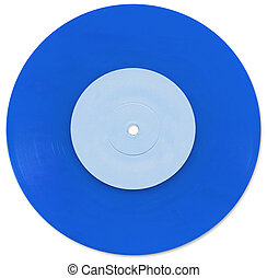Blue 7 inch Vinyl Single scanned in high resolution