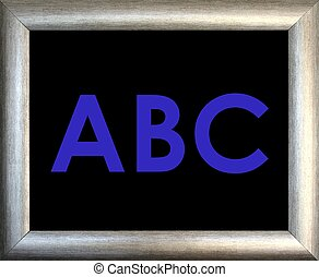 Blue ABC and silver frame on black background