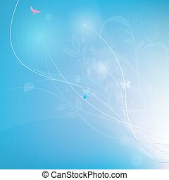 Blue abstrack background with lines and florals, vector