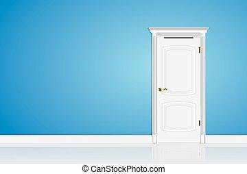 Blue abstract 3D geometrical design door in interior. Vector