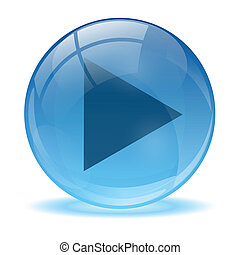 Blue abstract 3d play icon