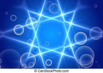 blue abstract background, kaleidoscope light