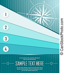Blue abstract background with banners and windrose