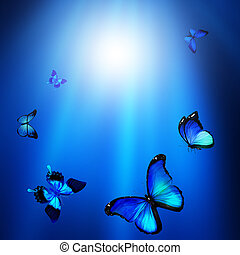 Blue abstract background with butterflies