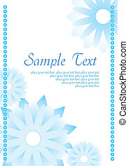 Blue abstract background with flowers,  vector illustration