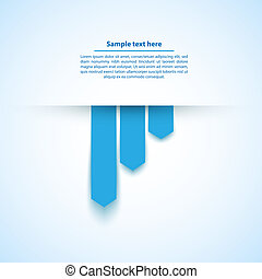 Blue abstract background with paper cut out ribbons. Place your text