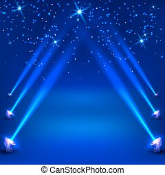 Blue abstract background with rays of spotlights. Vector illustration