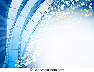 blue abstract background with retro blue film strip and golden stars